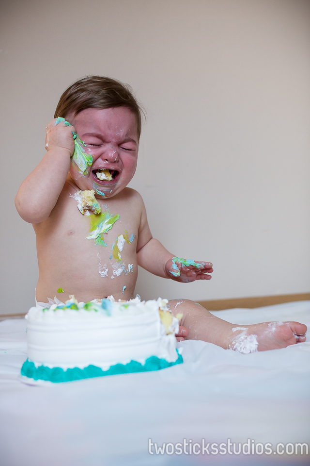 Quinn First Birthday Cake Smash Scranton Portrait Photographers